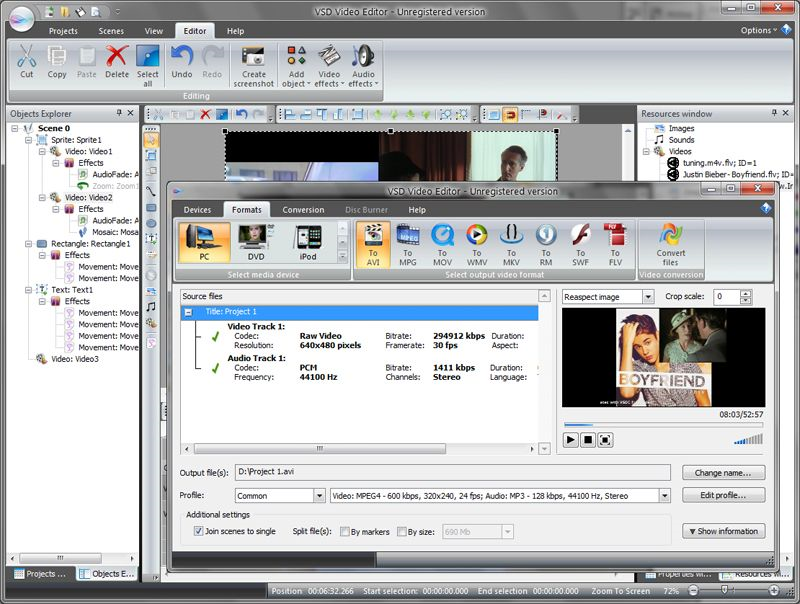 Making a video editing software for windows xp sp2