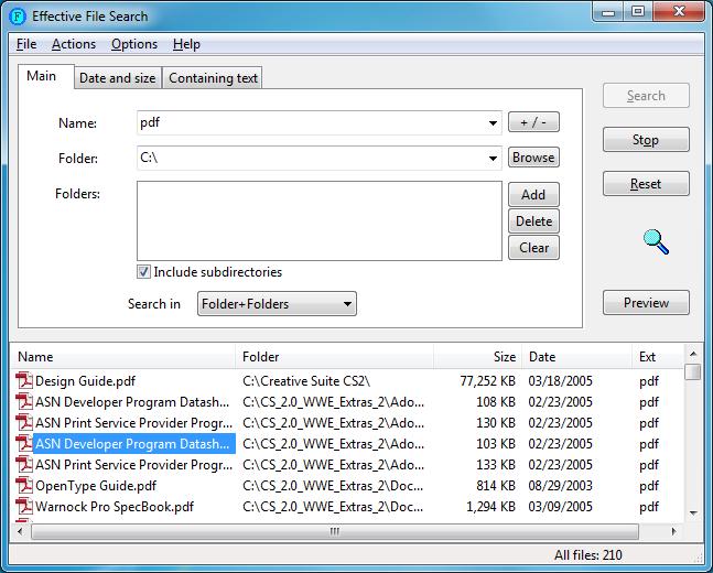 اداة فعالة للبحث عن الملفات بجهازك بكفاءة ودقة عالية Effective File Search 6.8.1