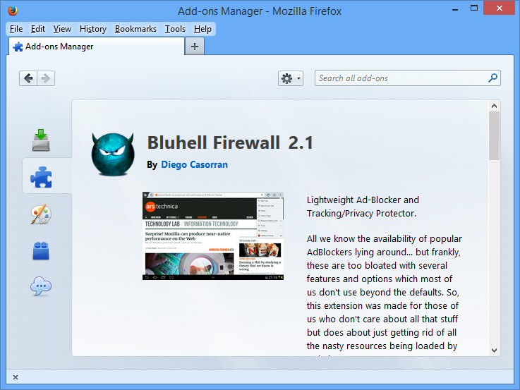 Bluehell Firewall for Firefox 2 5 0 free download - Software reviews