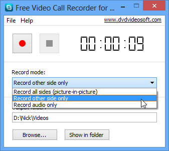 Free Video Call Recorder for Skype 1 2 40 1224 free download