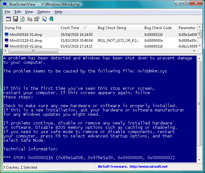 BlueScreenView 1.55 free download - Software reviews, downloads ...