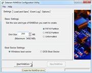 Dataram RAMDisk configuration screen