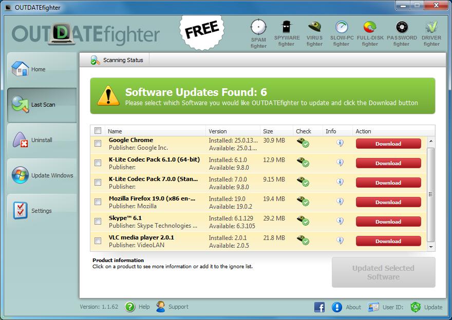 تحميل برنامج OUTDATEfighter 1.1.62 للبحث عن تحديثات البرامج والنظام لديك وتثبيتها تلقائياً مجانى