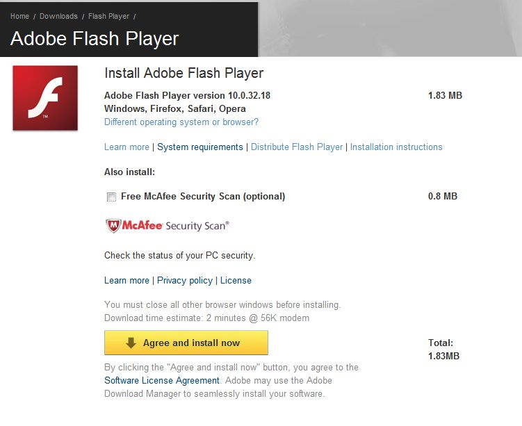 Adobe flash player-hämtning.