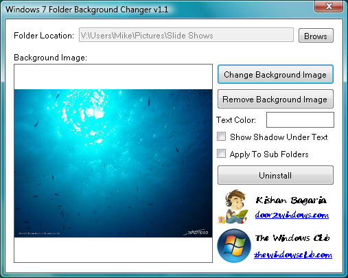 Windows 7 Folder Background Changer 1.1 Free Download