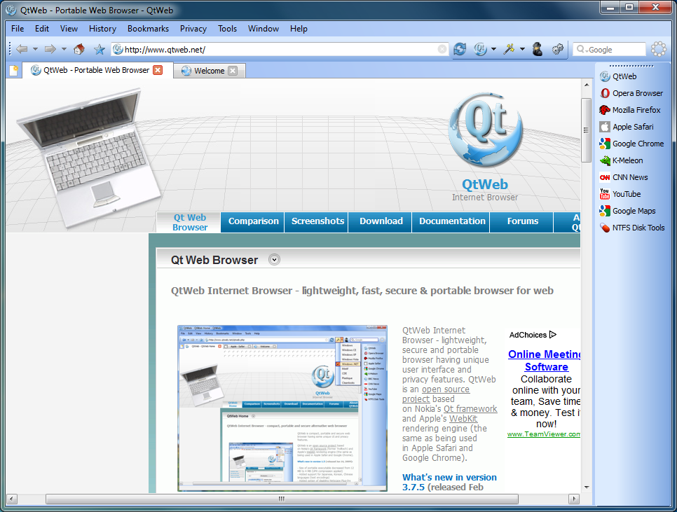 QtWeb Internet Browser 3 8 5 free download - Software