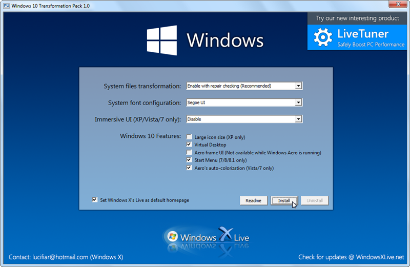 Windows 10 Transformation Pack 7.0 free download - Software reviews ... Choose your settings, then apply the Windows 10 look.