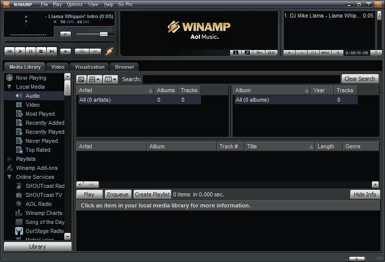 ����� ����� �������� Winamp Media Player 5.621