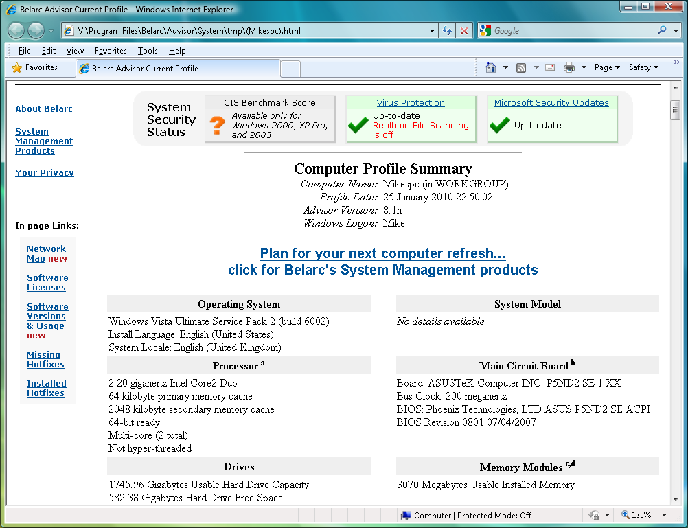 برنامج مجانى لعرض تفاصيل ومعلومات دقيقة لجميع الاجزاء بجهازك السوفت وير والهارد وير Belarc Advisor 8.3.2.0
