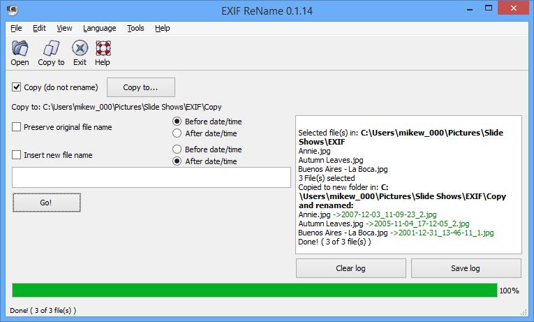 Exif ReName 0.1.14 Windows