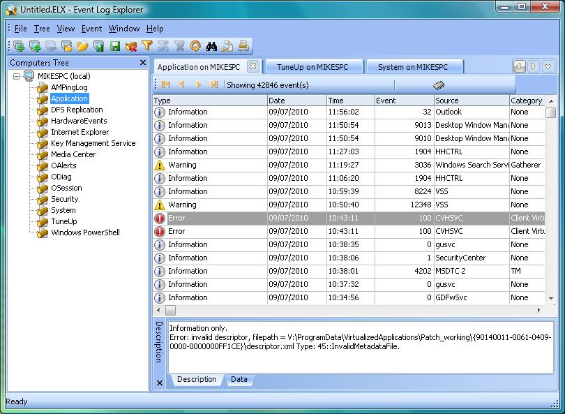 Event log explorer v4. 5. 3.