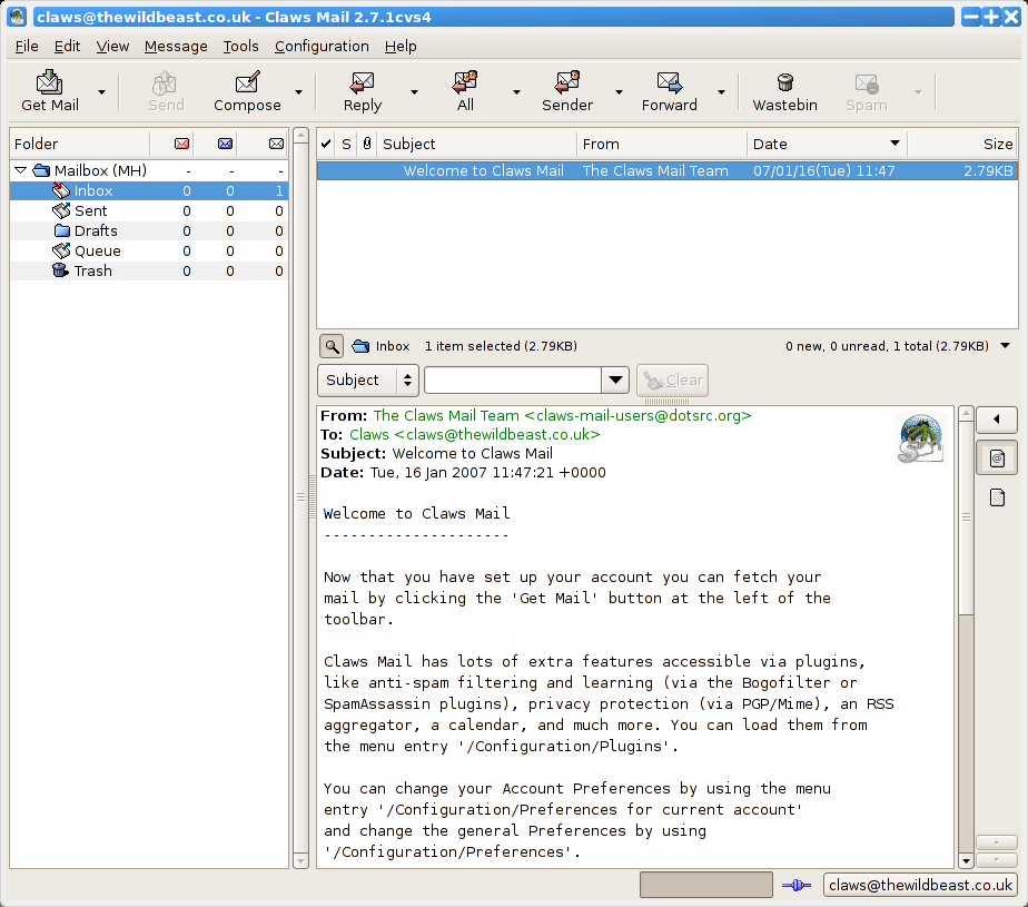 Claws mail 3. 14 released with improved password security omg.