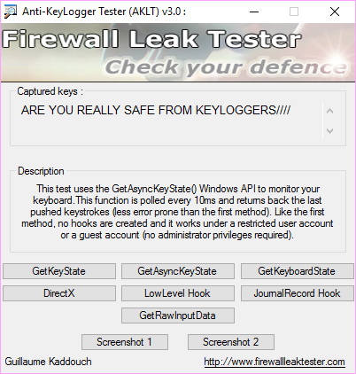 Anti-Keylogger Tester 3.0 free download - Software reviews ... Is your system safe from keyloggers?