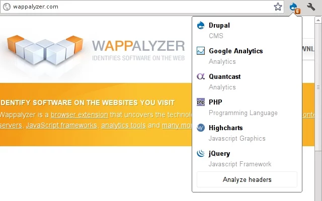Wappalyzer 5 5 6 for Chrome free download - Software reviews