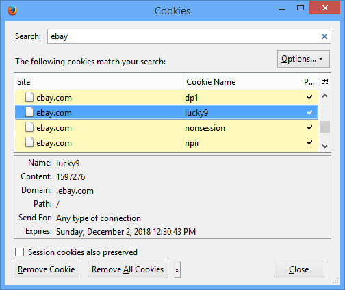 how to delete cookies from a particular site windows 8