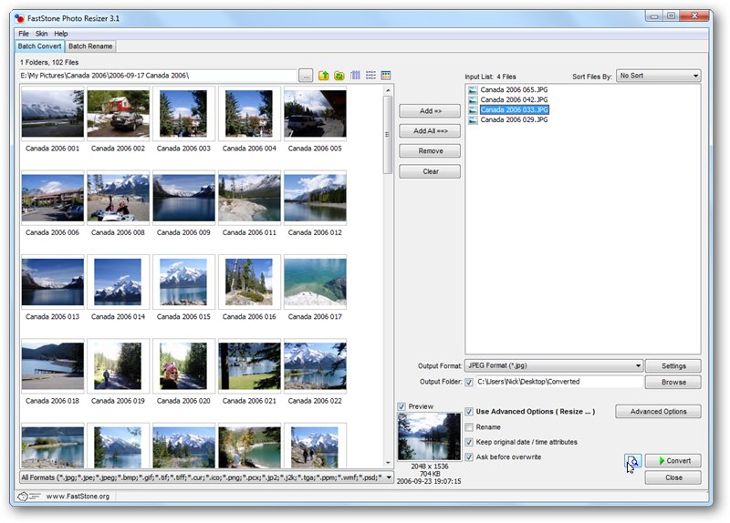 Resize batches of photos on the move