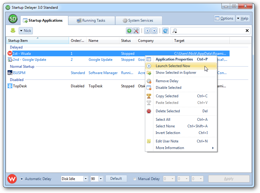 how to change startup programs xp windows to delay