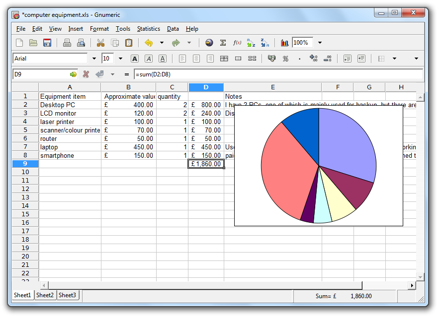 Spreadsheet For Windows 7